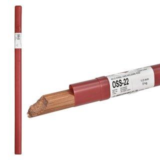 ニッコー溶材 ガス溶接で使用する軟鋼用ガス溶加棒(ガス棒) OSS-22 線径1.0mm 10kg/箱