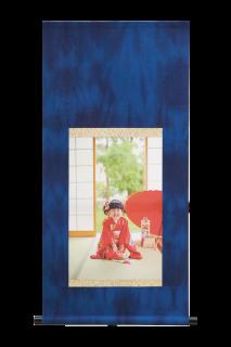 本藍染写真掛軸【無地・しぼり染】