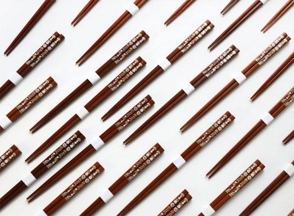 縞々 天然木のきのこ箸 【男女兼用サイズ】