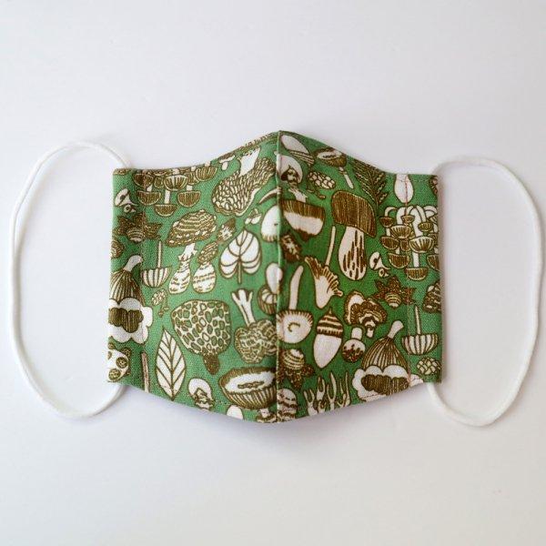 オリジナルテキスタイル『Skogen』綿麻マスク 緑