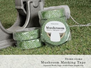 Mushroom Masking tape <Green><img class='new_mark_img2' src='https://img.shop-pro.jp/img/new/icons42.gif' style='border:none;display:inline;margin:0px;padding:0px;width:auto;' />