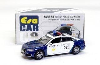 EraCar 1/64  ERA#08 AUDI - A6 (初回限定)台湾警察 Police Car 028 ダイキャスト製  前ドア・ボンネット開閉式