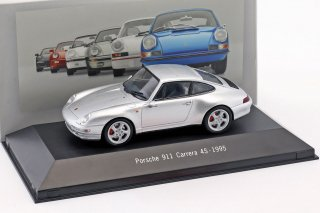 ATLAS EDITIONS 1/43 Porsche 911 (993) Carrera 4S Year 1995 Silver Metallic