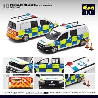 予約受付【11月】EraCar 1/64 #ERA_18 Volkswagen Caddyキャディマキシ Maxi - 香港警察 (AM8409)三角コーン付(ボンネット開閉)