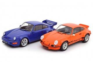 海外直輸入 Solido 1/18 2台セット Porsche 911 Carrera RSR & Porsche 911 Carrera RS (964) オレンジ / ブルー (S180004)