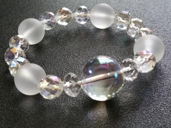 天然石 オーロラクリスタル オール水晶ブレスレット
