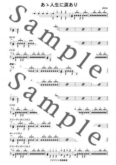 あゝ人生に涙あり【里見浩太朗,水戸黄門テーマ】ドラム楽譜・スコア譜の購入