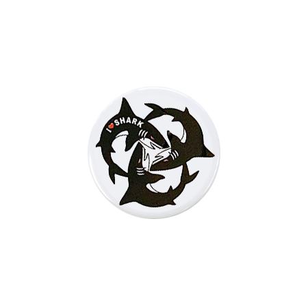【ミニ】缶バッジ I LOVE SHARK 3(白)
