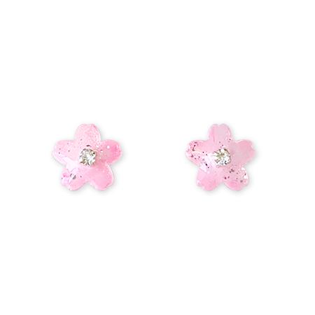 mikazuki hanameオリジナル 樹脂ピアス(桜)