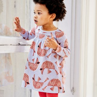 <img class='new_mark_img1' src='//img.shop-pro.jp/img/new/icons14.gif' style='border:none;display:inline;margin:0px;padding:0px;width:auto;' />【tea】Printed Smocked Baby Dress-Cardinal Bird バードワンピース