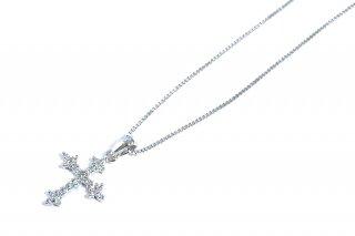 OUTLET ジルコニアのクロスネックレス 参考価格¥6,300→¥2,700 *サンプル放出品
