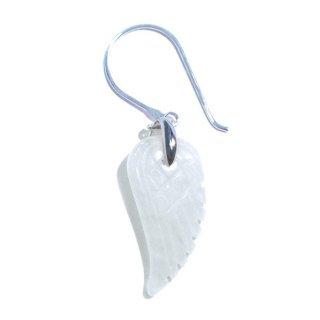 天然石の羽根のピアス(ホワイトオニキス/シングル)