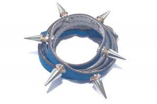 銀スタッズ4重レザーブレス(ブルー)