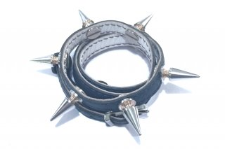 銀スタッズ4重レザーブレス(ネイビー)