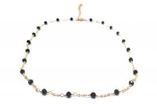 OUTLET クリスタルとリーフチャームのネックレス(ブラック) 参考価格¥8,500→¥4,300 *サンプル放出品