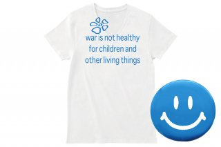 war is not healthy Vネックカットソー ブルー(缶バッジ付属) size S 限定