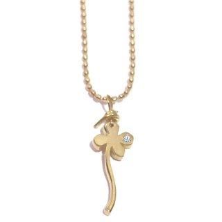 一輪のクローバーのダイヤモンド18金ネックレス