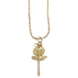 一輪のガーベラのダイヤモンド18金ネックレス