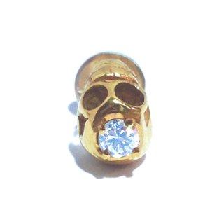 金とダイヤモンドのスカルピアス(シングル)