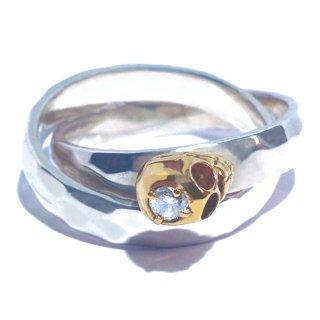 金とダイヤモンドのスカル2連リング