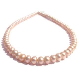 本真珠のネックレス(オレンジピンク)