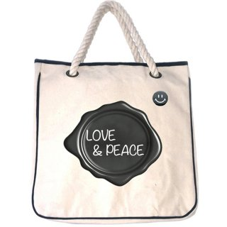 LOVE & PEACE 帆布トートバッグ(缶バッジ付属)