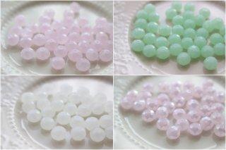 ボタンカット・ガラスビーズ・Milk(8mm・全4色)