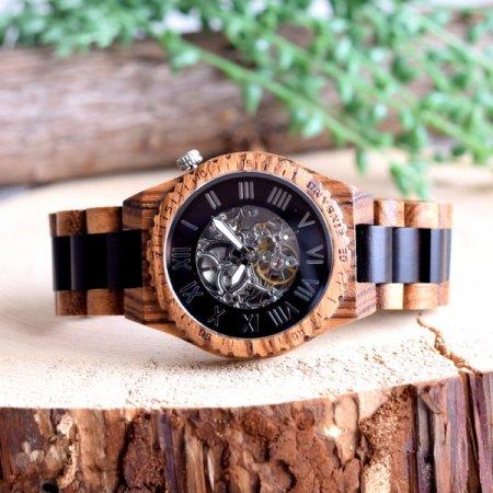 【初回100本限定生産】EINBAND Eins Zebra & ebony 46mm 自動巻き木製腕時計