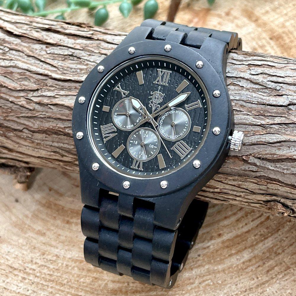 EINBAND Sand Ebony マルチカレンダー木製腕時計 46mm