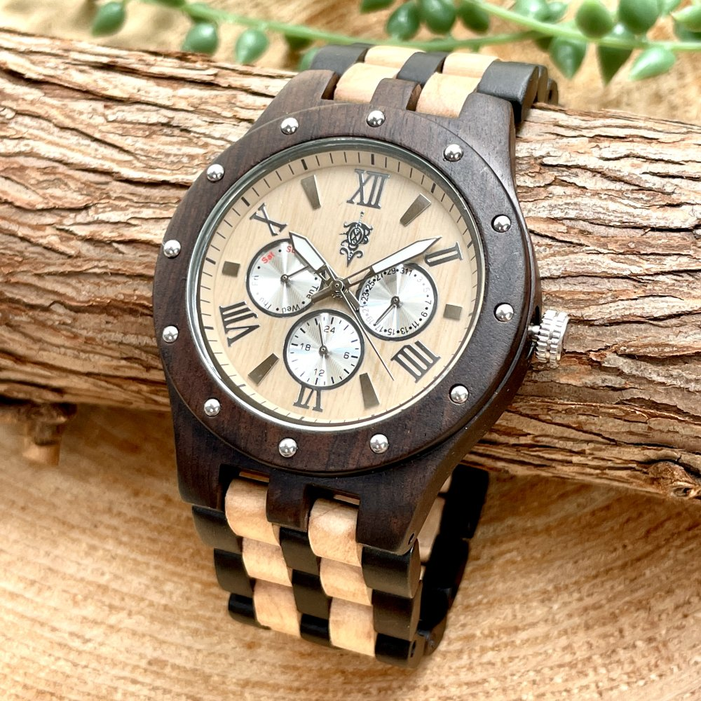 EINBAND Sand Maple & Ebony マルチカレンダー木製腕時計 46mm