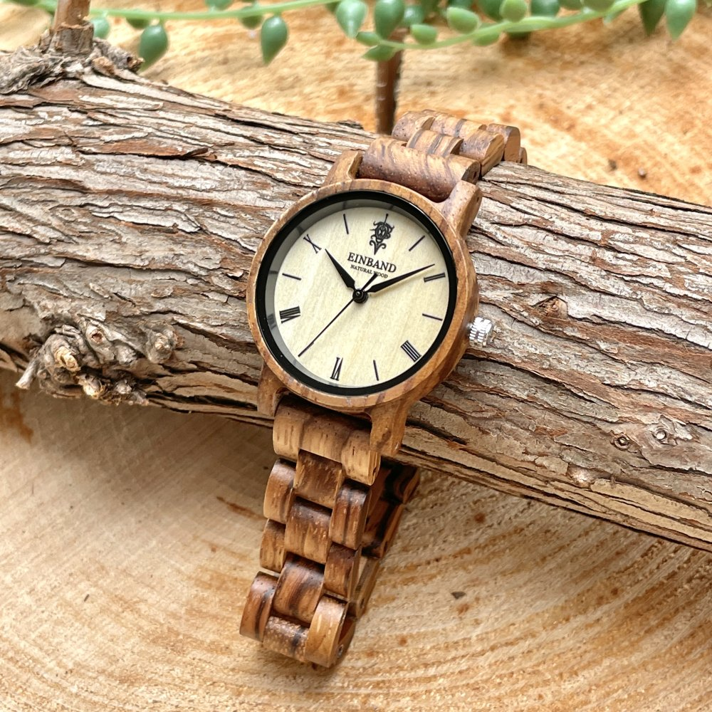 EINBAND Reise Zebrawood 木製腕時計 32mm