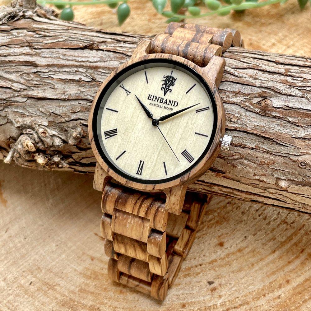 EINBAND Reise Zebrawood 木製腕時計 40mm