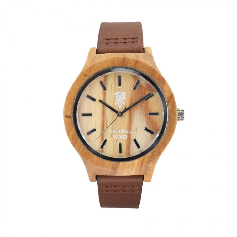 EINBAND Luft Olive レザー木製腕時計 36mm