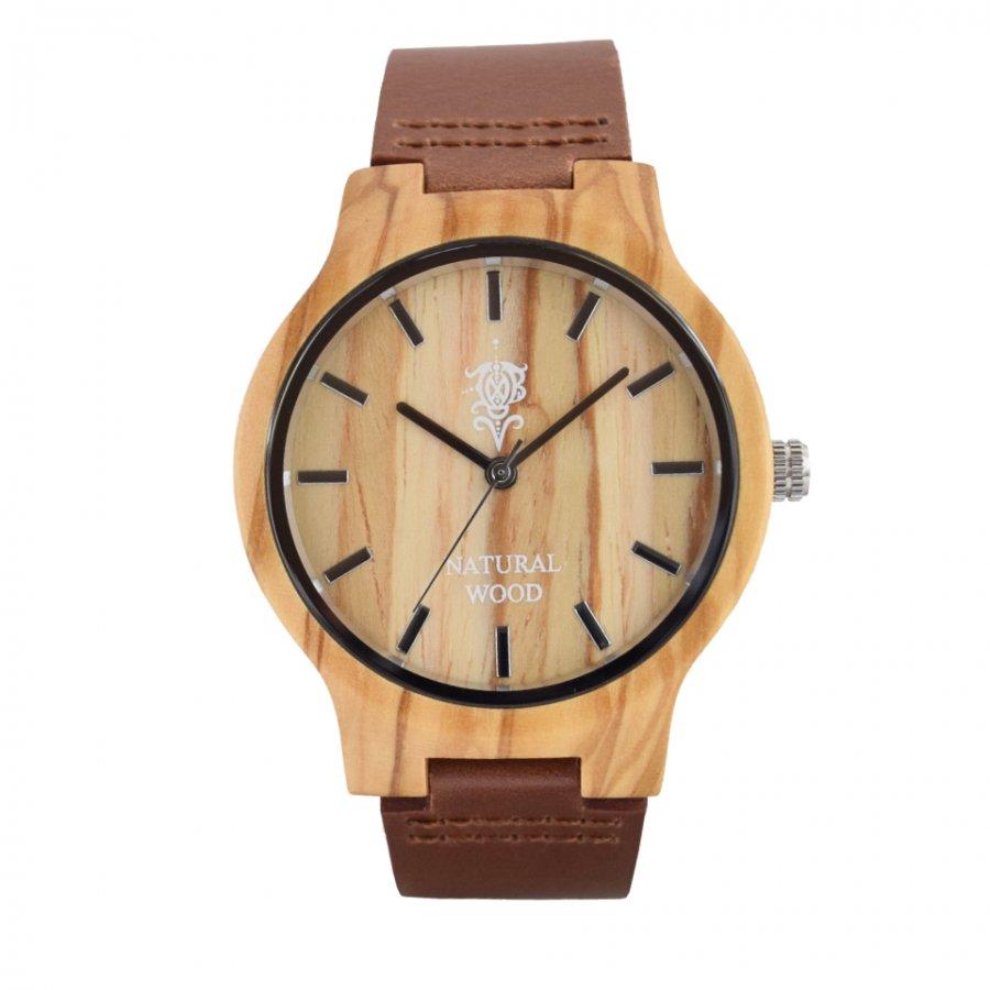 EINBAND Luft Olive レザー木製腕時計 40mm