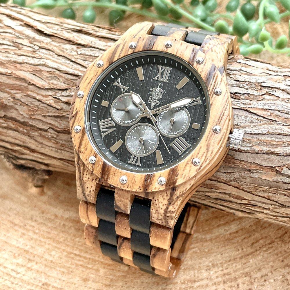 EINBAND Sand Zebra & Ebony マルチカレンダー木製腕時計 46mm