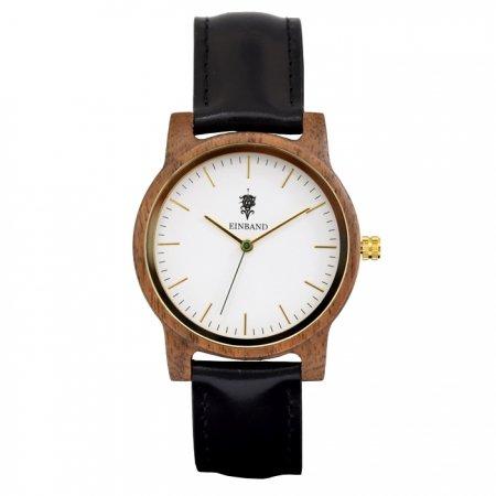 EINBAND Glanz WHITE 木製腕時計 ブラックレザー 36mm
