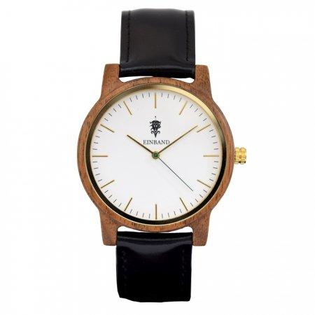 EINBAND Glanz WHITE 木製腕時計 ブラックレザー 40mm