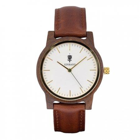 EINBAND Glanz WHITE 木製腕時計 ブラウンレザー 36mm