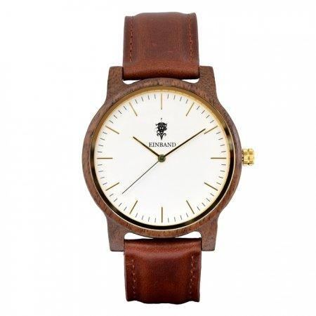EINBAND Glanz WHITE 木製腕時計 ブラウンレザー 40mm