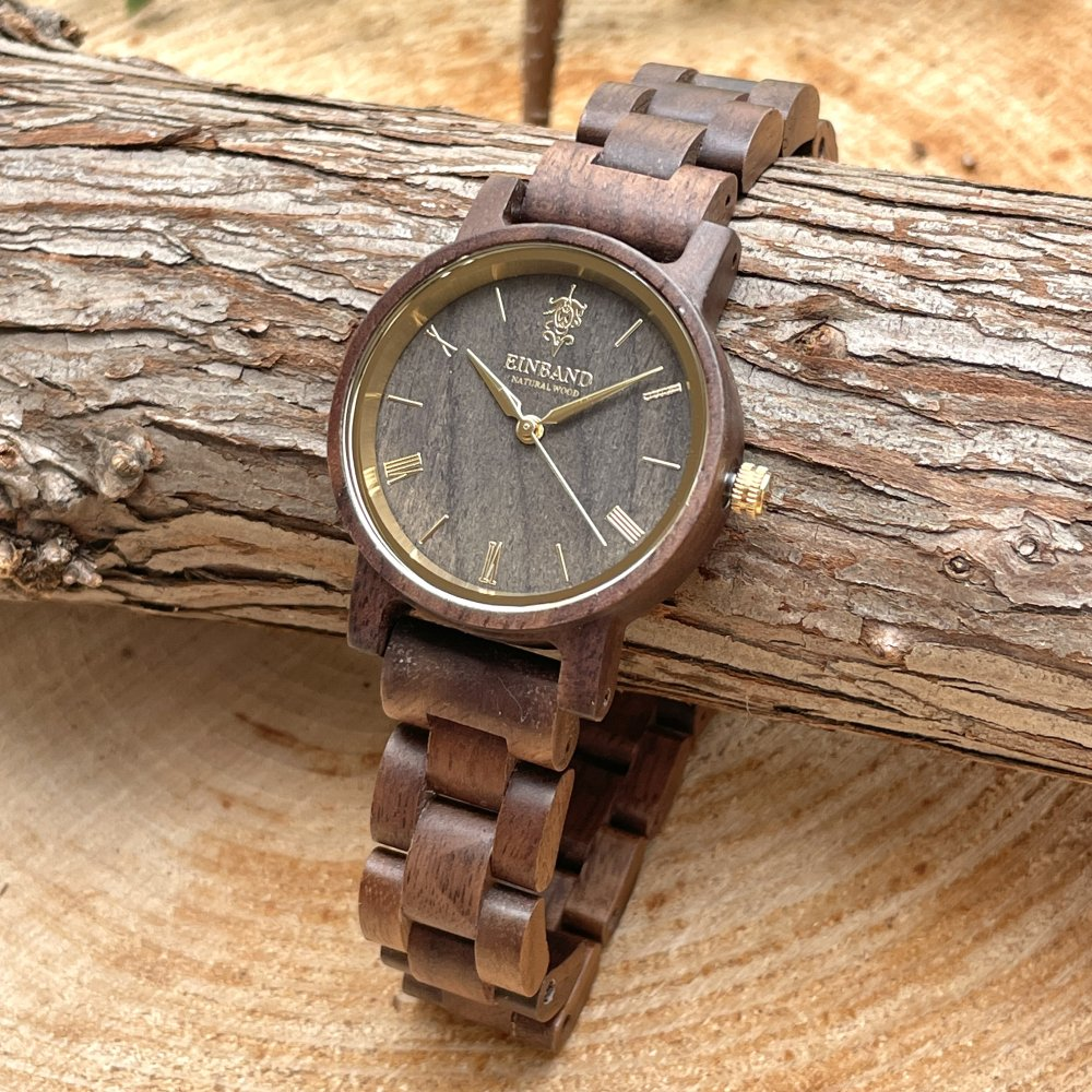 EINBAND Reise Walnut & Gold 木製腕時計 32mm