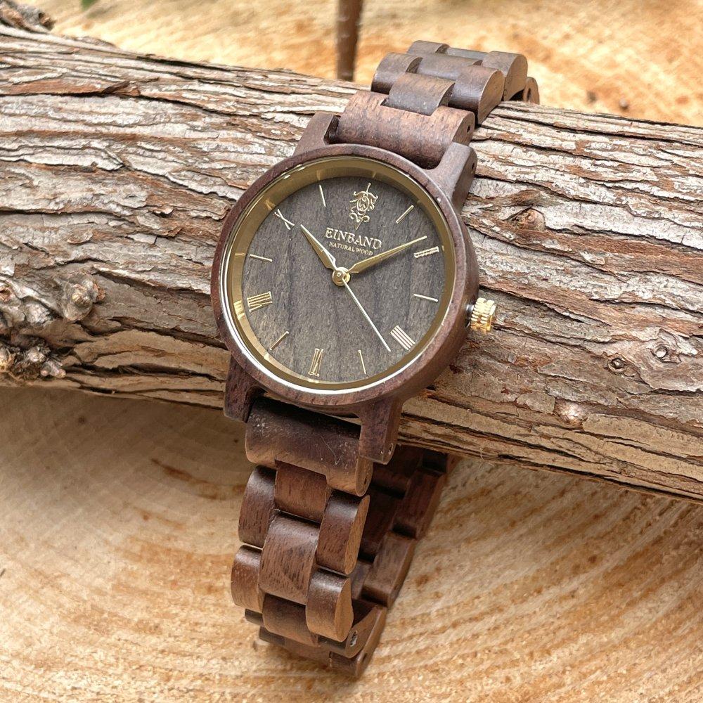 EINBAND Reise Walnut & Gold 木製腕時計 32mm