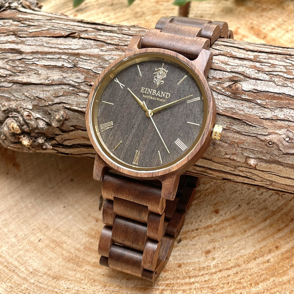 EINBAND Reise Walnut & Gold 木製腕時計 40mm
