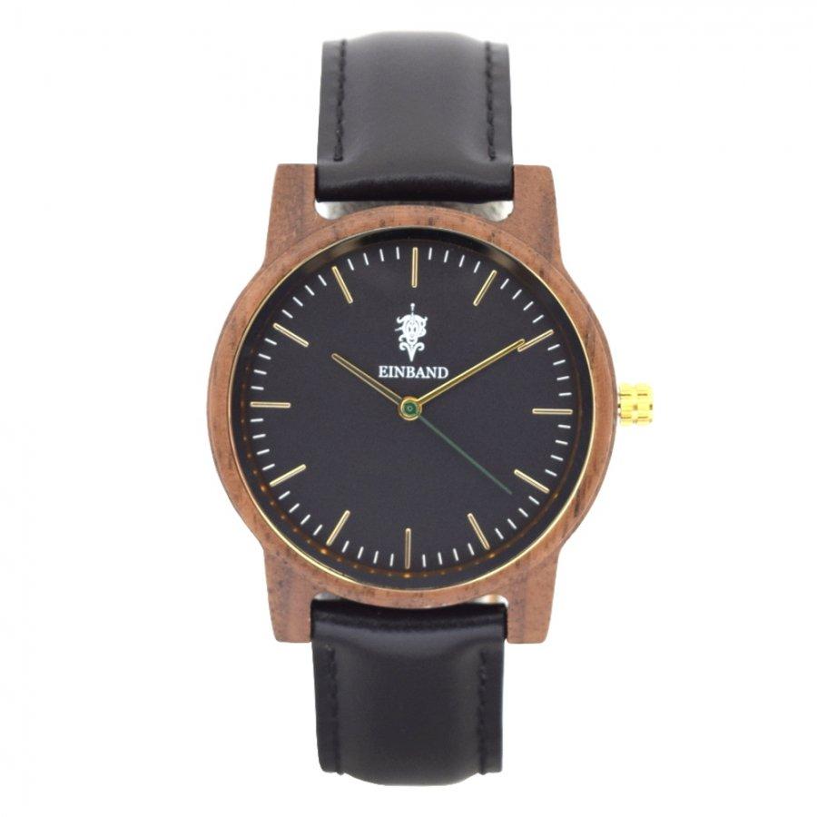 EINBAND Glanz BLACK 木製腕時計 ブラックレザー 36mm
