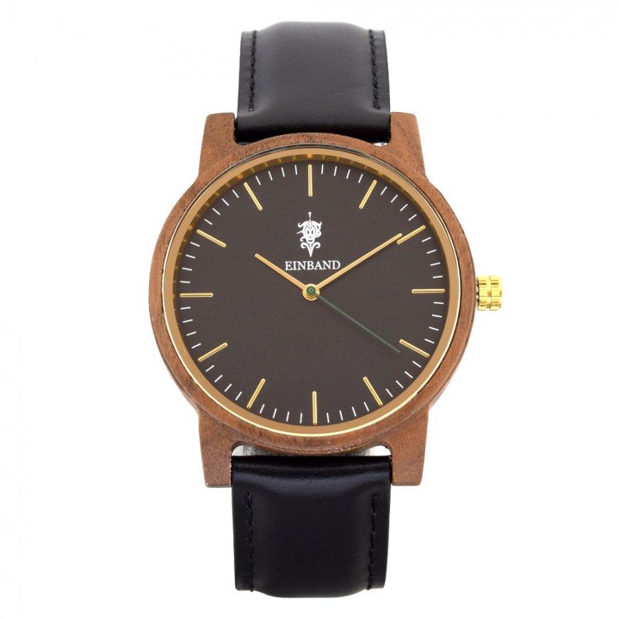 EINBAND Glanz BLACK 木製腕時計 ブラックレザー 40mm