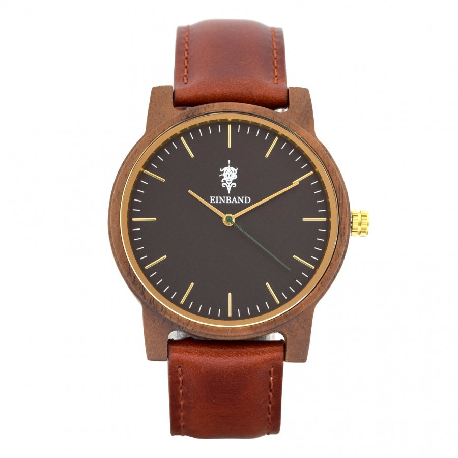 EINBAND Glanz BLACK 木製腕時計 ブラウンレザー 40mm