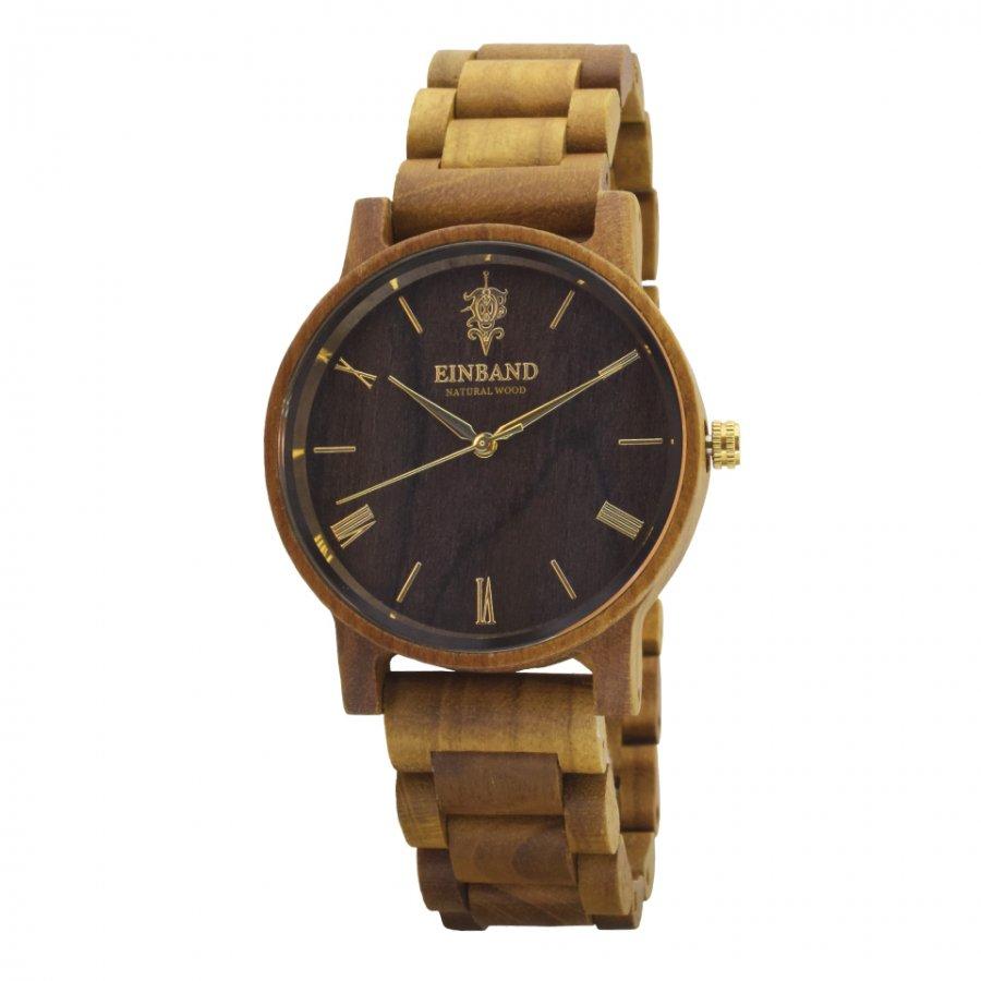 EINBAND Reise Teak & Gold 木製腕時計 40mm