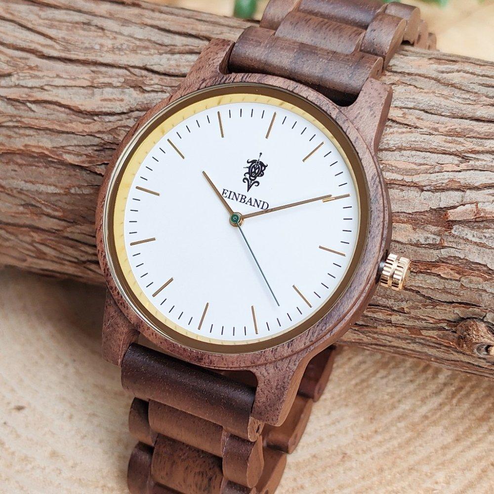 EINBAND Glanz WHITE 木製腕時計 木製ベルト 40mm
