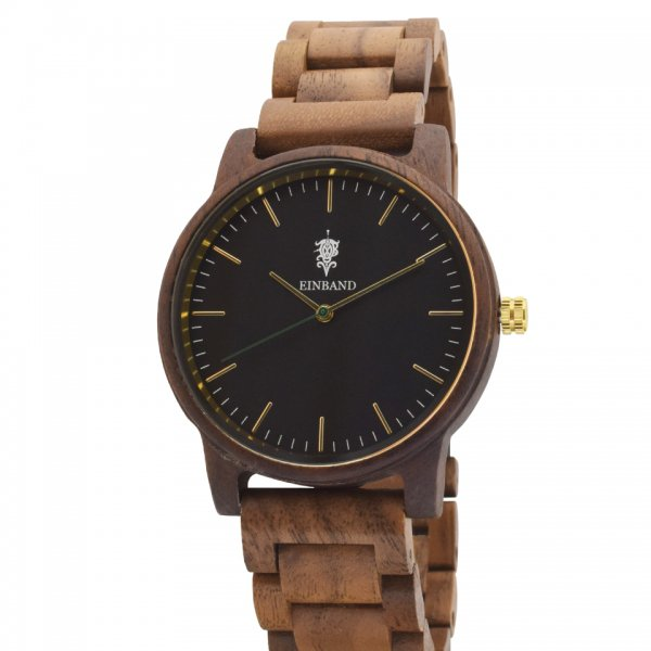 EINBAND Glanz BLACK 木製腕時計 木製ベルト 40mm
