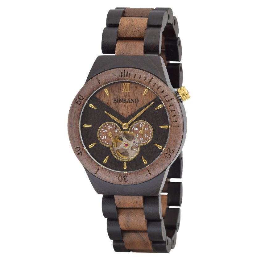 EINBAND Krone Walnut&Ebony 40mm  自動巻木製腕時計