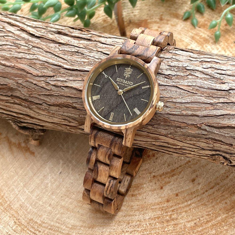 EINBAND Reise ZebraWood & Gold 木製腕時計 32mm